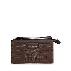 Bailey & Quinn - Chocolate 'Heligan' leather mock croc wristlet purse
