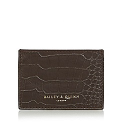Bailey & Quinn - Chocolate 'Heligan' leather croc effect card holder