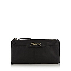 Mantaray - Black leather stud front large zip purse
