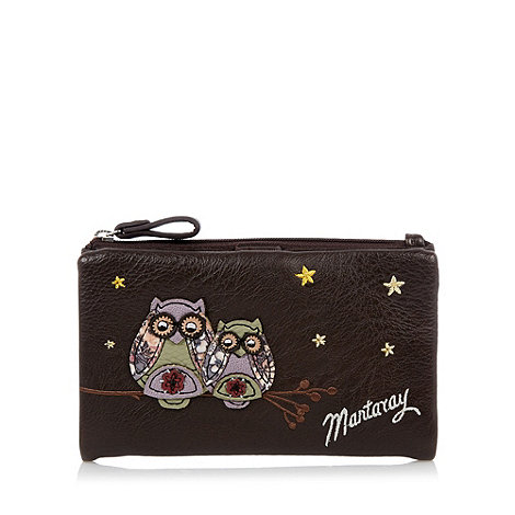 Mantaray - Chocolate owl applique zipped fold over purse