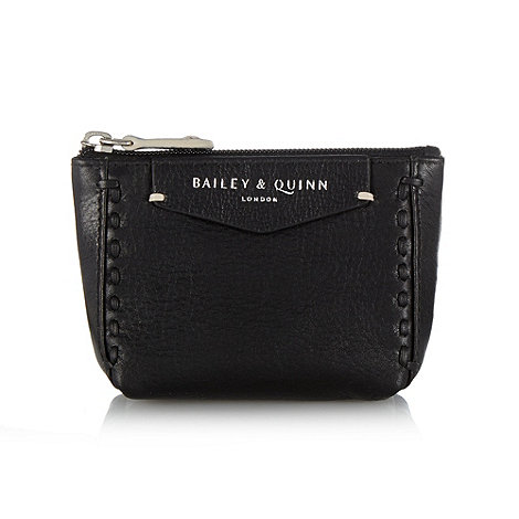 Bailey & Quinn - Black +Helenium+ leather stitch front coin purse