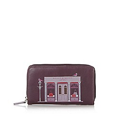 Bailey & Quinn - Purple leather 'Shop' printed zip around purse