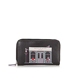Bailey & Quinn - Black leather 'Shop' printed zip around purse