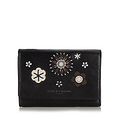 Bailey & Quinn - Black leather flower medium flapover purse