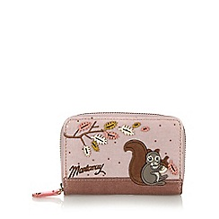 Mantaray - Pale pink squirrel and hedgehog medium tab purse