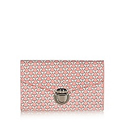 Mantaray - Pink butterfly printed push lock medium purse