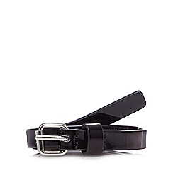 The Collection - Pack of two natural and black skinny patent belts
