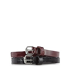 The Collection - Pack of two black and wine skinny patent belts