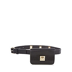 Faith - Black faux pony hair belt bag
