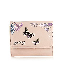 Mantaray - Light pink embroidered butterflies medium purse