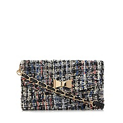 Red Herring - Black sequin tweed bow small cross body bag