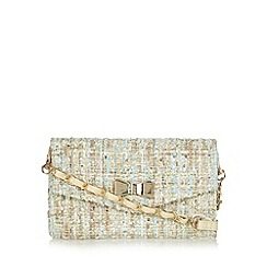 Red Herring - Cream sequin tweed bow small cross body bag