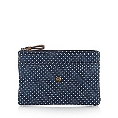Mantaray - Blue quilted polka dot large purse