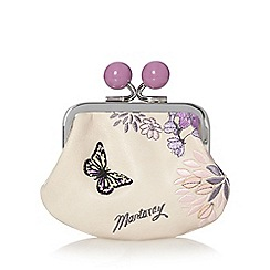 Mantaray - Cream embroidered butterfly coin purse