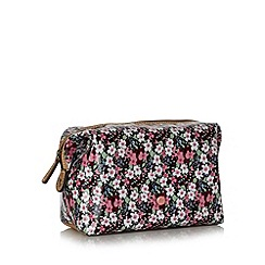 Mantaray - Pink floral coated canvas cosmetics bag