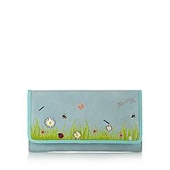 Mantaray - Blue summer garden applique large flap over purse