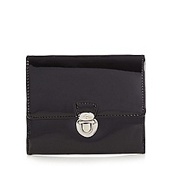 The Collection - Black patent push lock medium purse