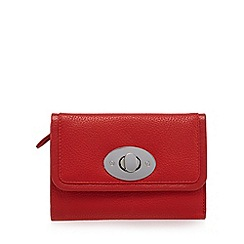 The Collection - Red leather twist lock flap over medium purse