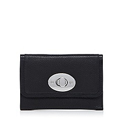 The Collection - Black leather twist lock flap over medium purse