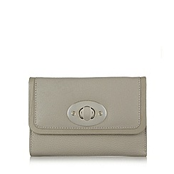 The Collection - Grey leather twist lock flap over medium purse