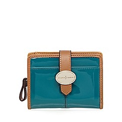 J by Jasper Conran - Turquoise patent fold over tab purse