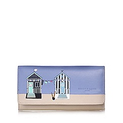 Bailey & Quinn - Blue beach hut large flapover leather purse