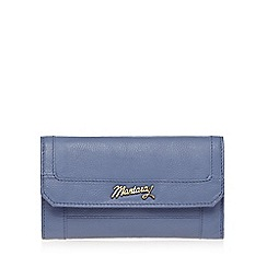 Mantaray - Blue leather logo large purse