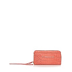 Versace Jeans - Coral large mock croc double zip purse