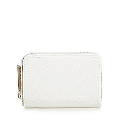 Versace Jeans - White small flap over debossed logo purse