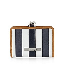 Principles by Ben de Lisi - Designer navy striped clasp medium purse
