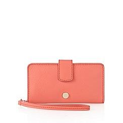J by Jasper Conran - Designer coral leather 2-in-1 phone case and purse