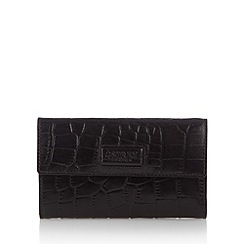 Osprey London - Black leather mock croc medium purse