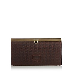 Osprey London - Chocolate 'Woodhouse' leather dogtooth large purse