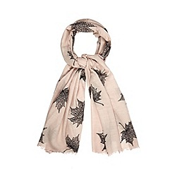 Osprey London - Rose gold silk wool blend leaf scarf