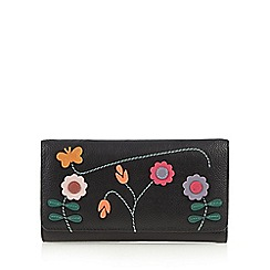 The Collection - Black butterfly and flower applique leather medium purse
