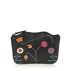 The Collection - Black butterfly and flower applique leather coin purse