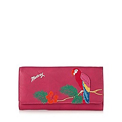 Mantaray - Pink tropical parrot embroidered large purse