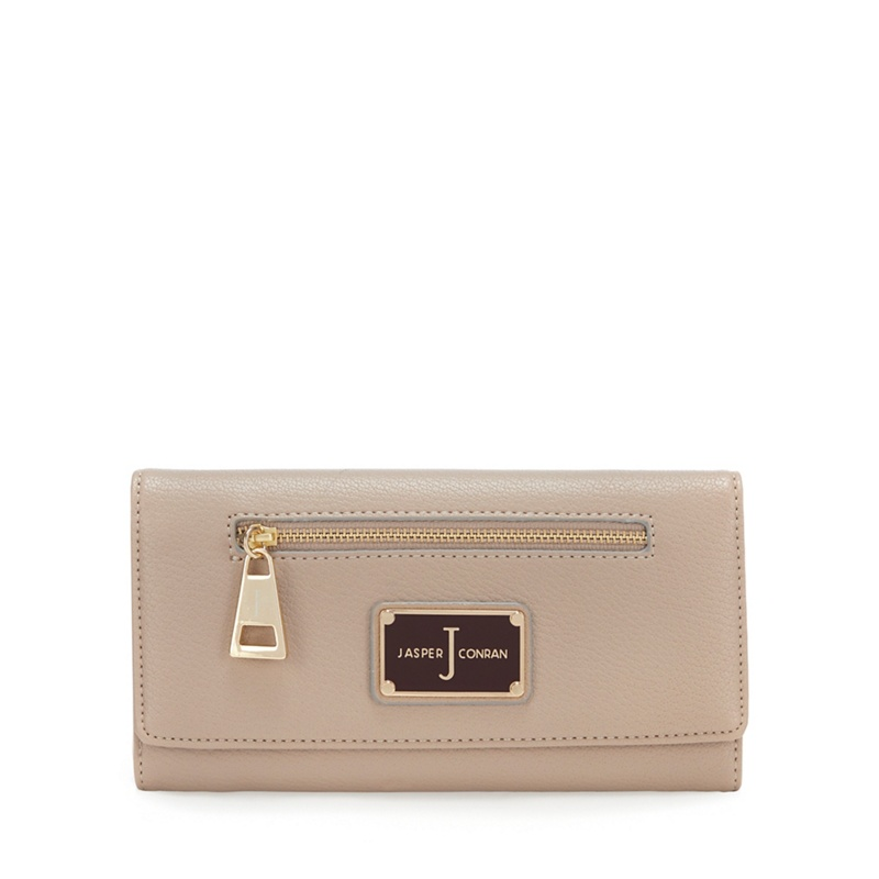 J by Jasper Conran Taupe Zip Front Large Purse - One Size - Purses (9011749 5045480307558) photo