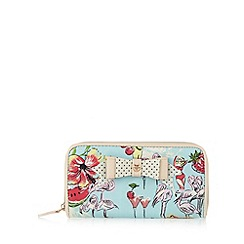 Floozie by Frost French - Aqua zip around flamingo print purse