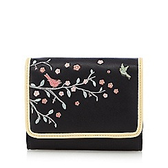 The Collection - Black applique birds small purse