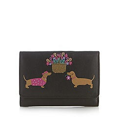 The Collection - Black dog flower large flapover purse