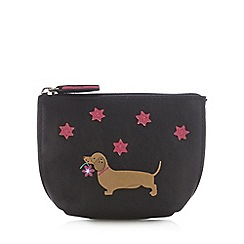The Collection - Black dog flower leather coin purse