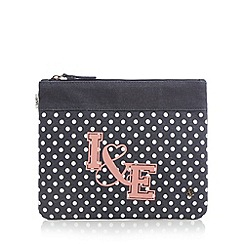 Iris & Edie - Navy denim spotted logo clutch bag