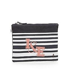 Iris & Edie - Black stripe zip top pouch