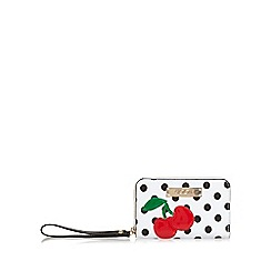 Floozie by Frost French - White spotted cherry medium ziparound purse