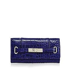 J by Jasper Conran - Blue leather mock croc large purse