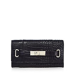 J by Jasper Conran - Black leather mock croc large purse