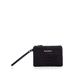 RJR.John Rocha - Black leather mock croc wristlet bag
