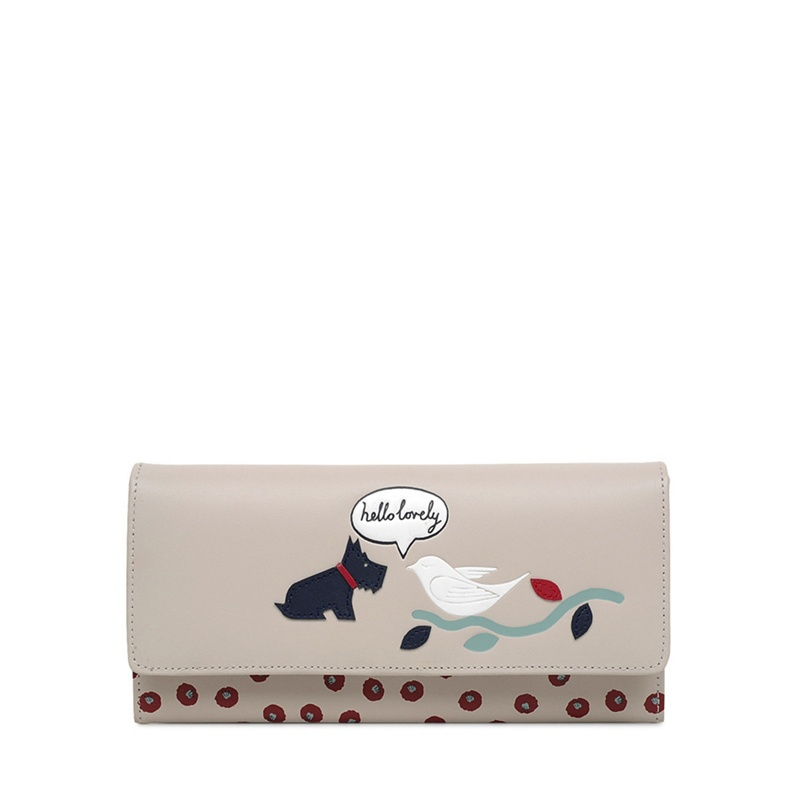 Radley Pale Grey Leather 'Hello Lovely' Large Matinee Purse - One Size - Purses (9086815 S1024064) photo