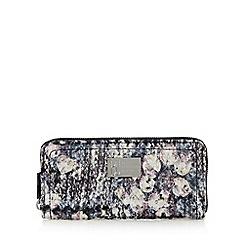 Betty Jackson.Black - Designer blue tweed zip around purse